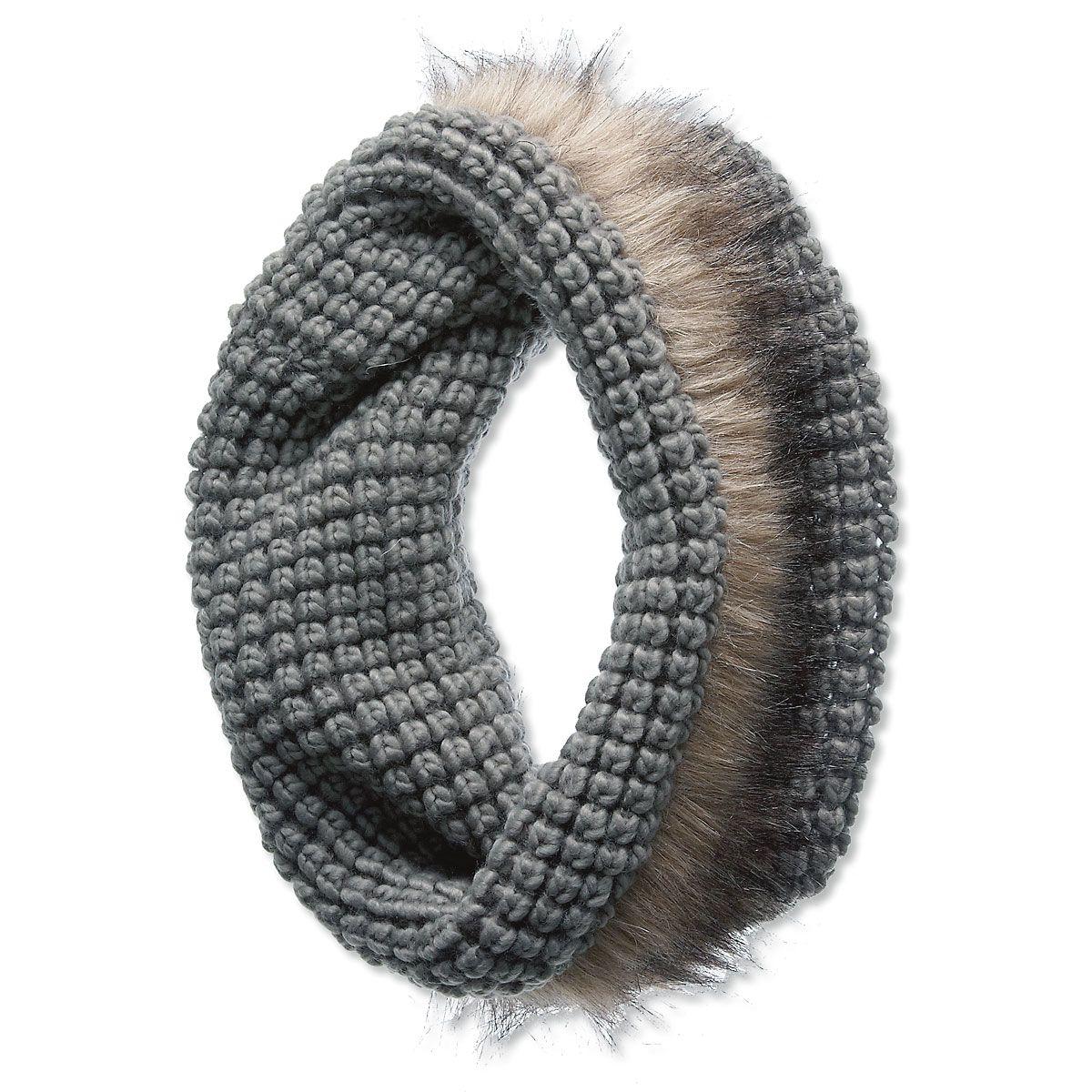 Infinity Fur Hooded Scarf - Grey