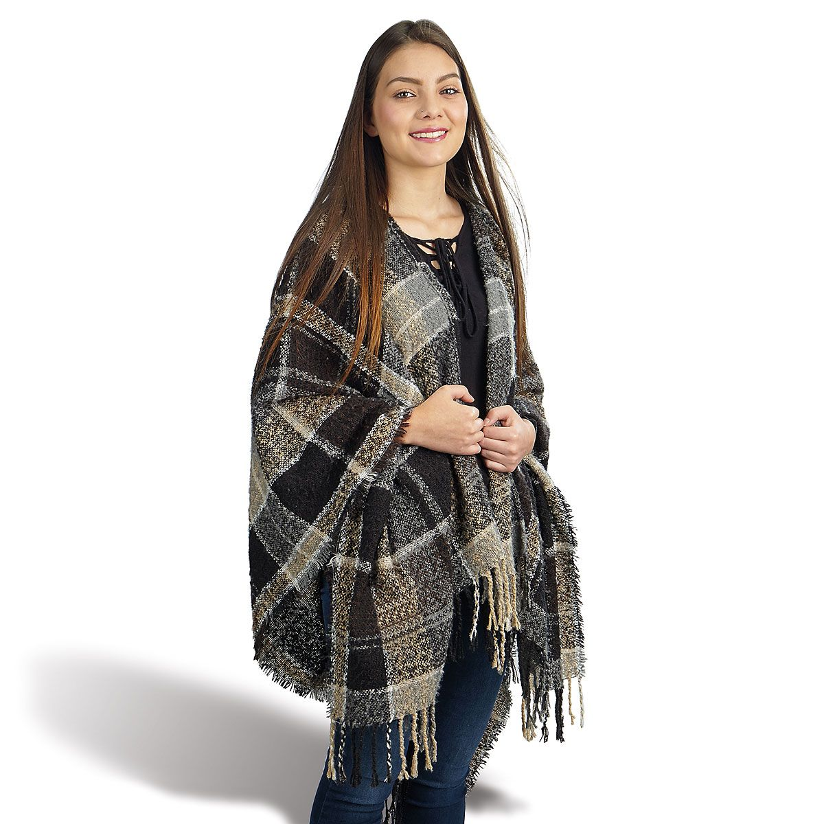 Fall Plaid Fringed shawl