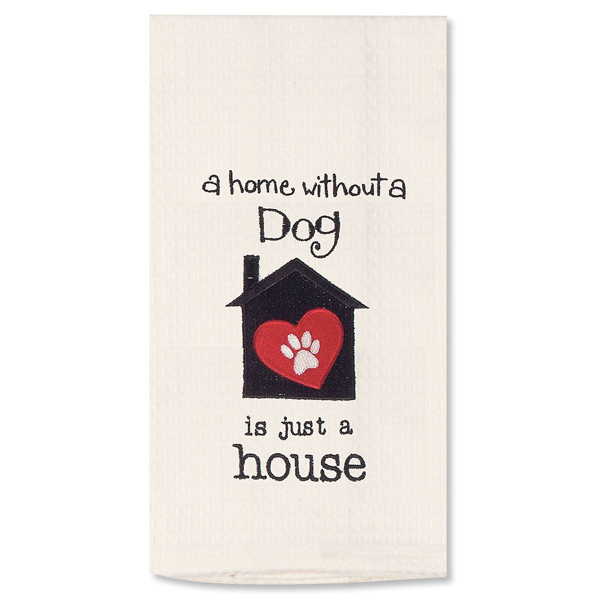 Embroidered Pet Waffle Towel - Dog House
