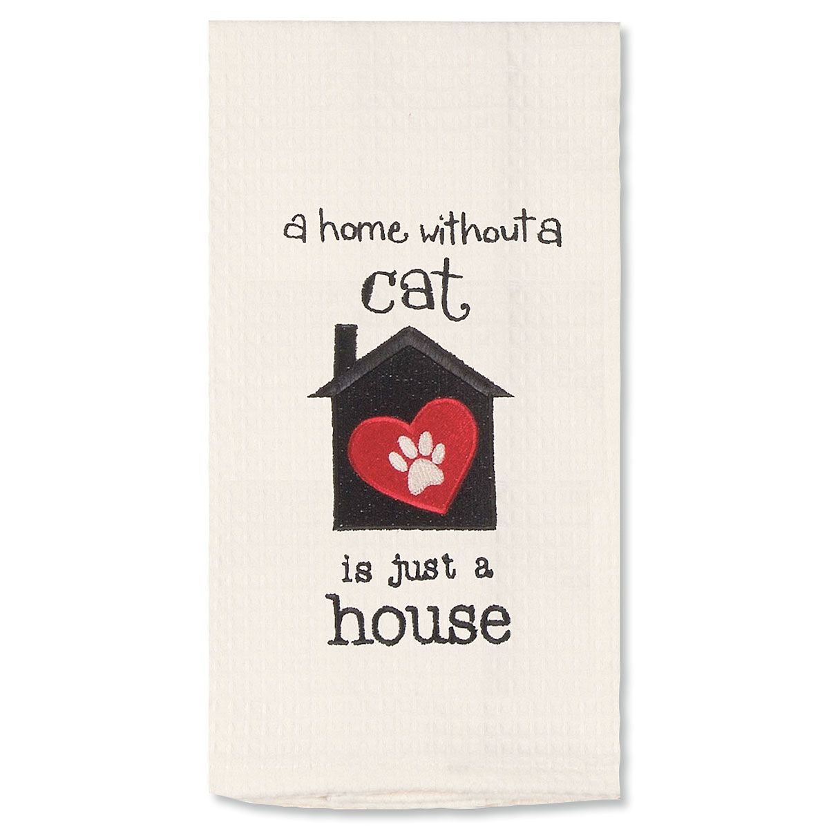 Embroidered Pet Waffle Towel - Cat House