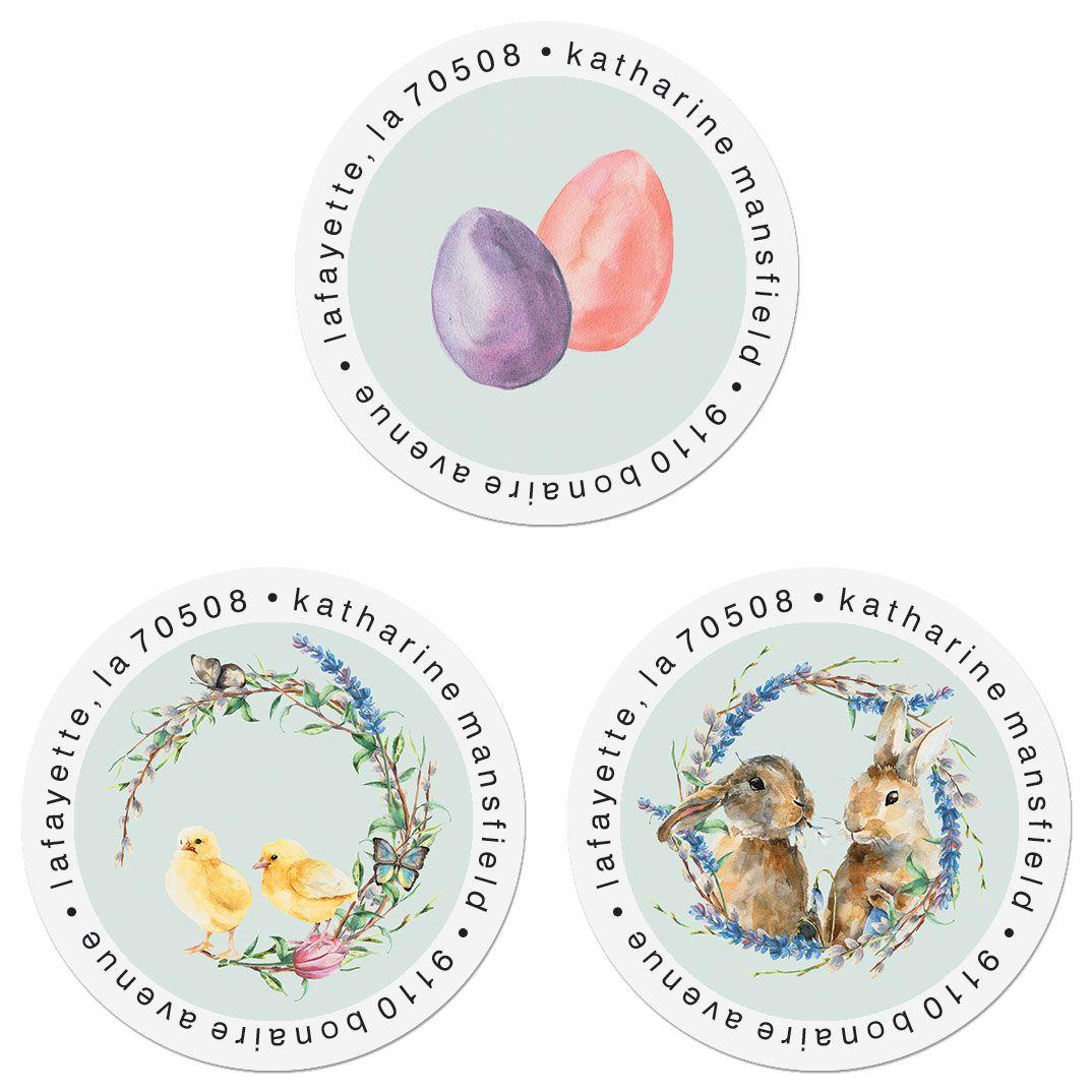 Hoppy Easter Round Address Labels