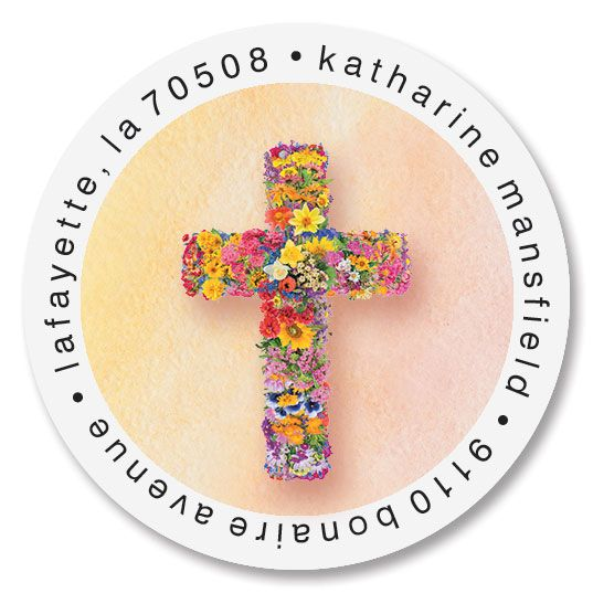Blooming Cross Round Address Labels