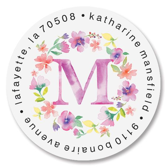 Painted Floral Initial Round Address Labels