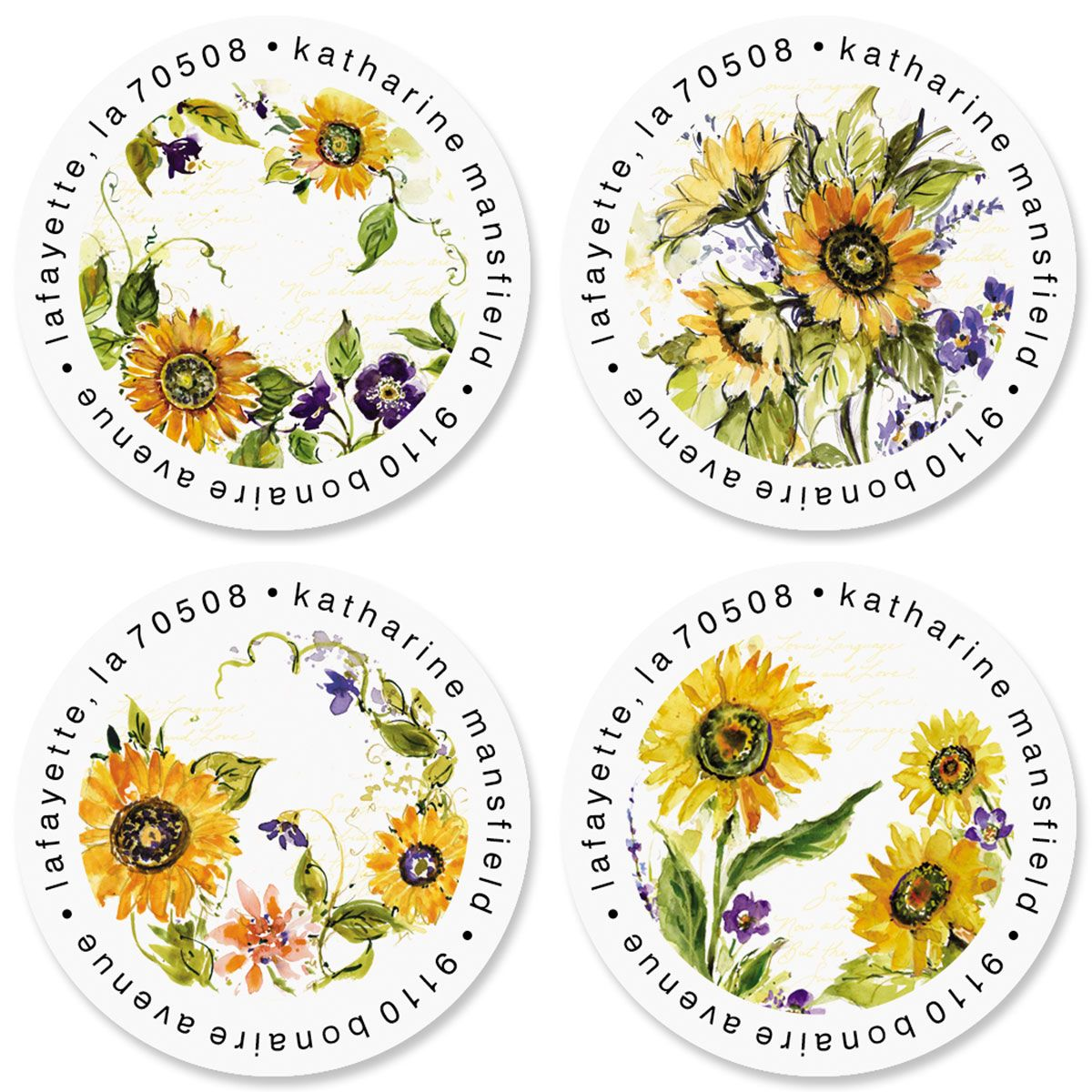 Watercolor Sunflower Round Address Labels