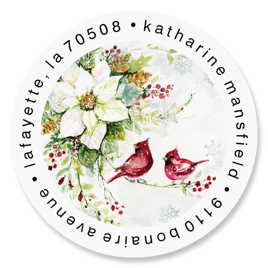 Watercolor Poinsettia Round Address Labels