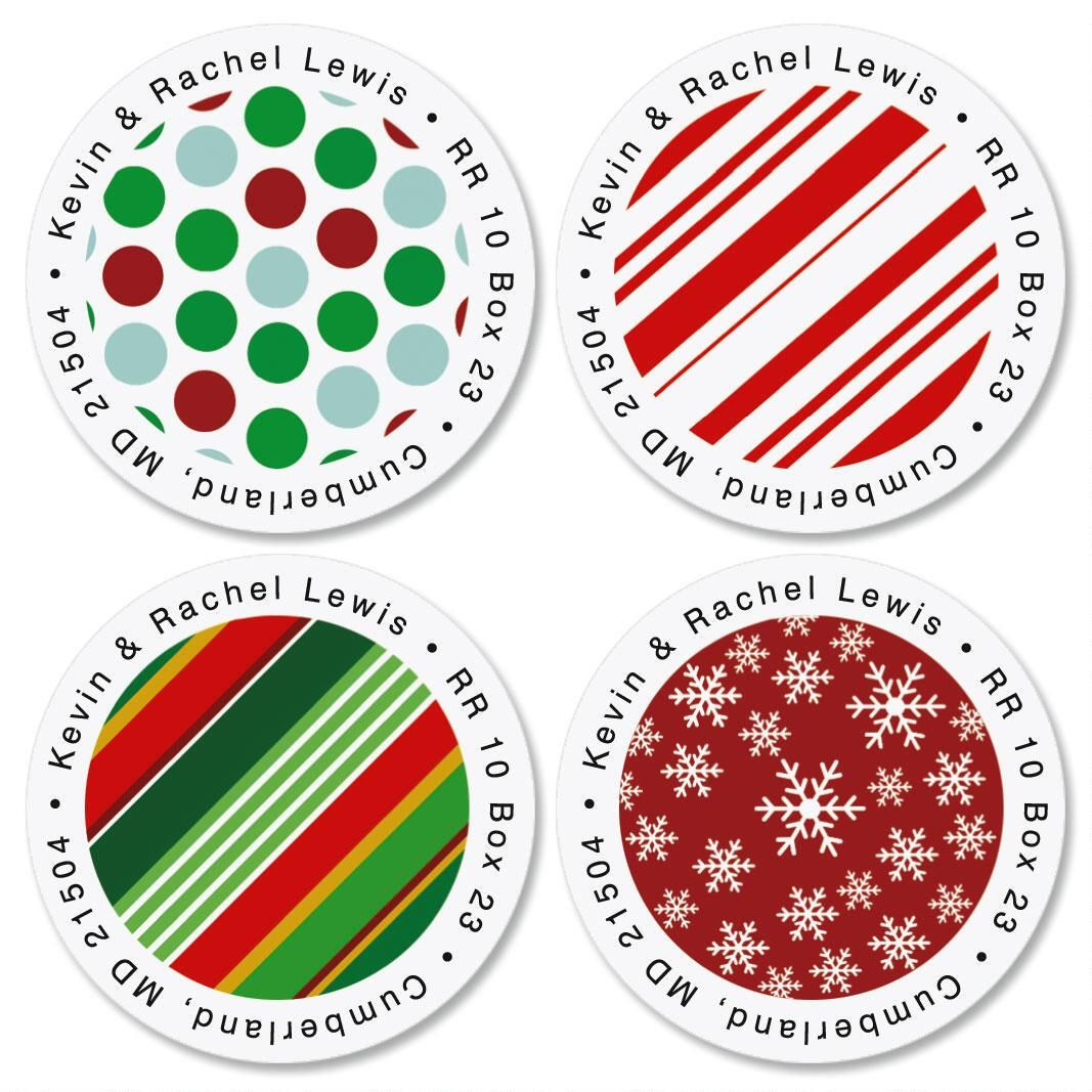 Gift Wrap Greetings Round Address Labels  (4 designs)