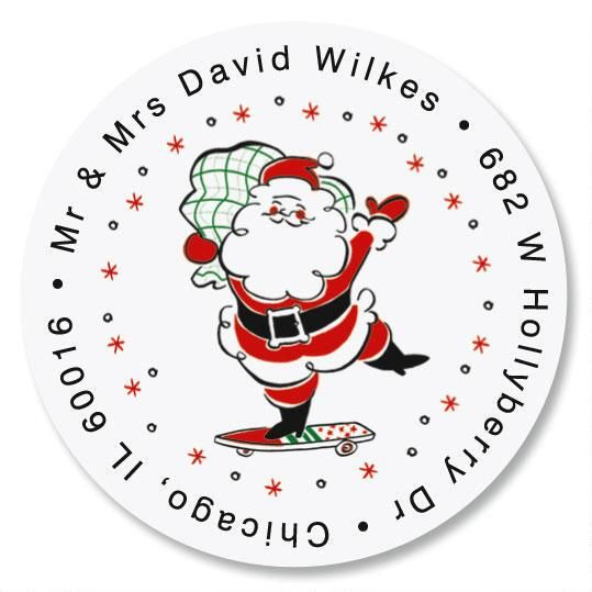 Retro Santa Round Address Label