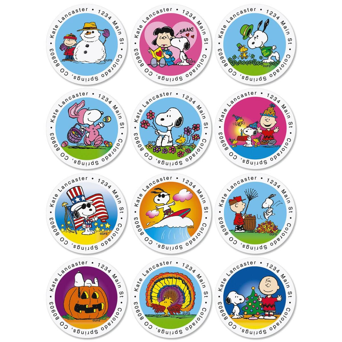 Peanuts Year Round Round Address Label  (12 designs)