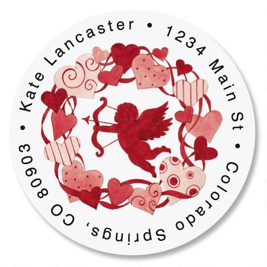 Valentine Wreath Round Address Labels