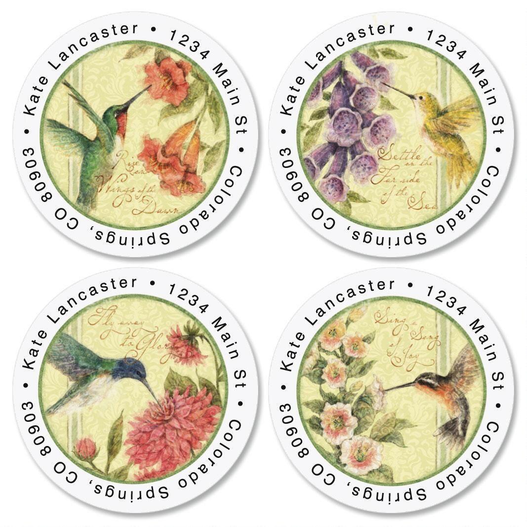 Hummingbird Round Address Label  (4 designs)