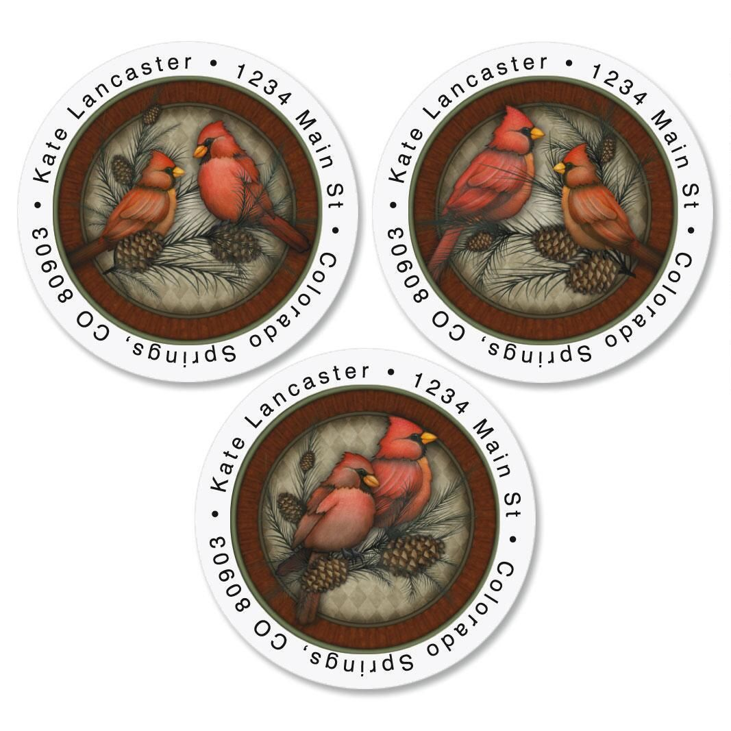 Cardinals Round Address Labels  (3 designs)