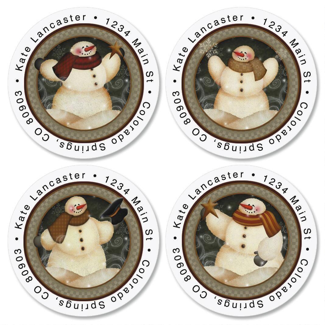 Snowmen Round Address Labels  (4 designs)