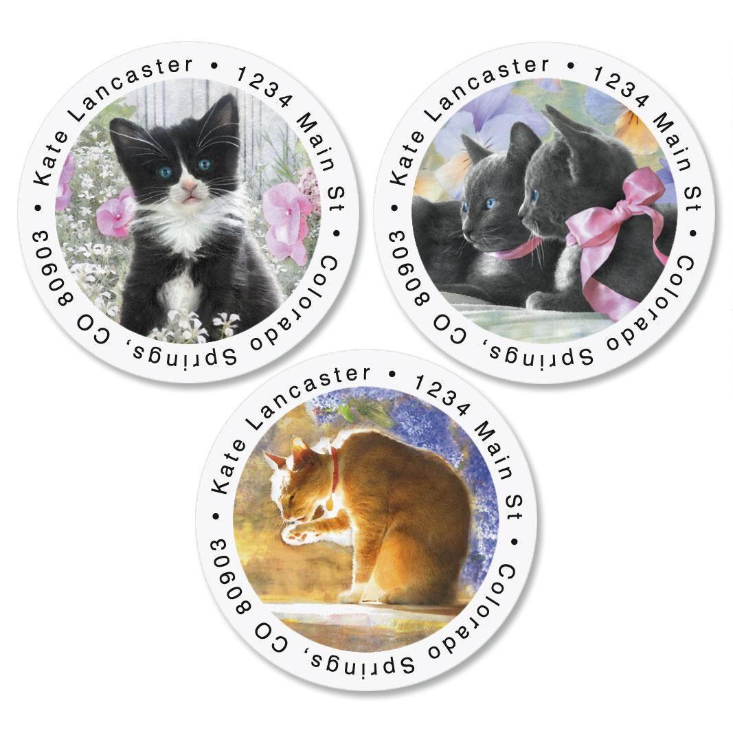 Purrfectly Feline Round Address Labels