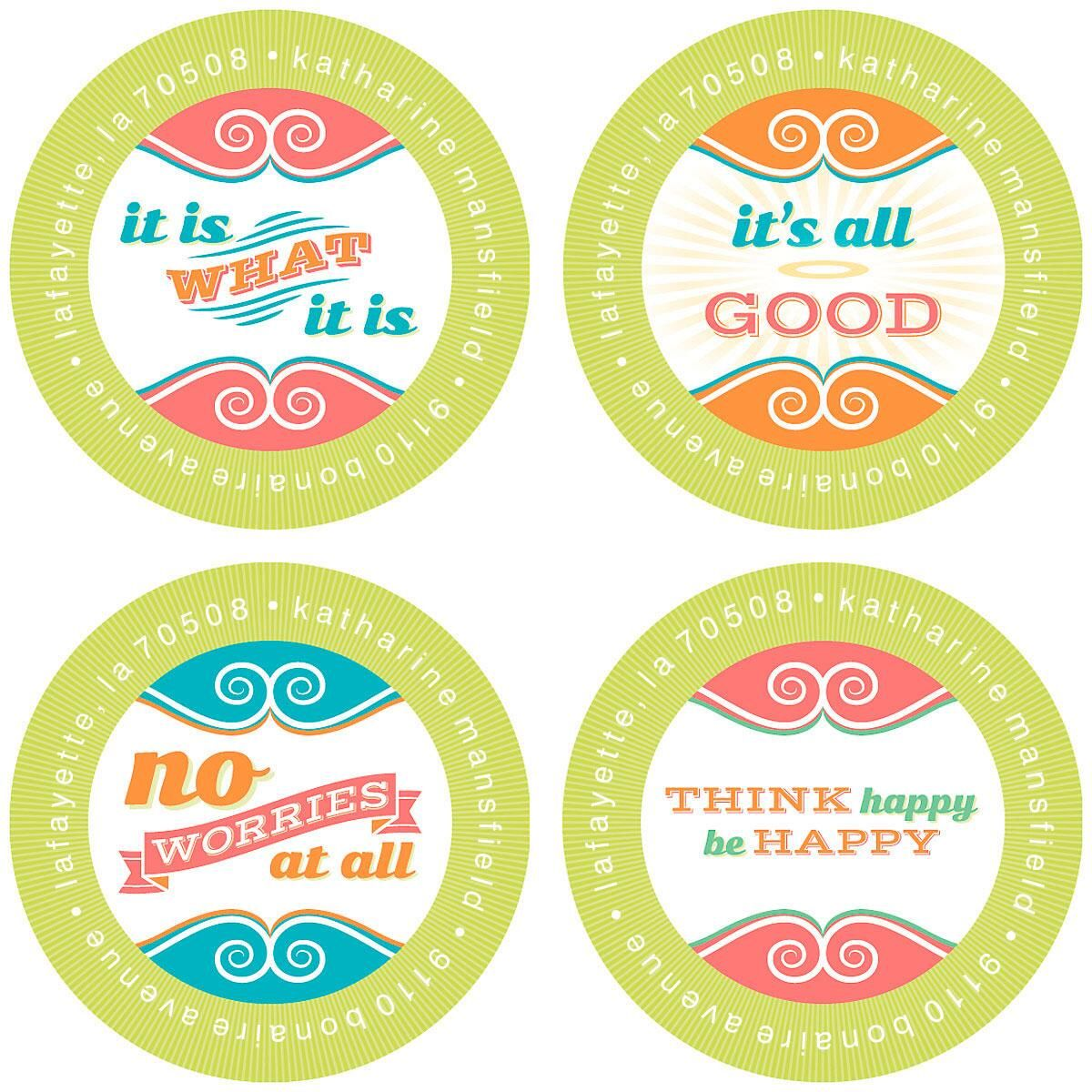 Think Happy Round Address Labels  (4 Designs)