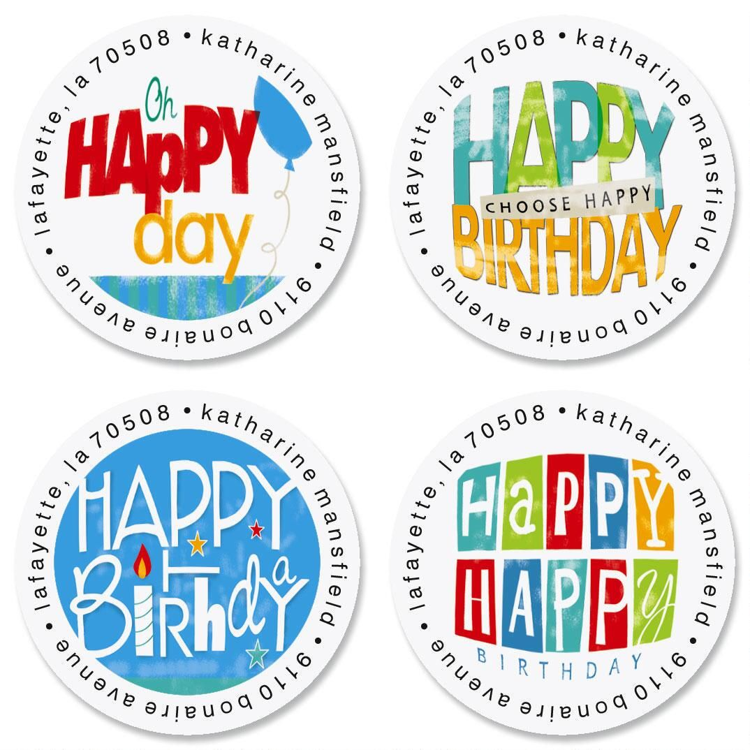 Happy Birthday Round Address Labels  (4 Designs)