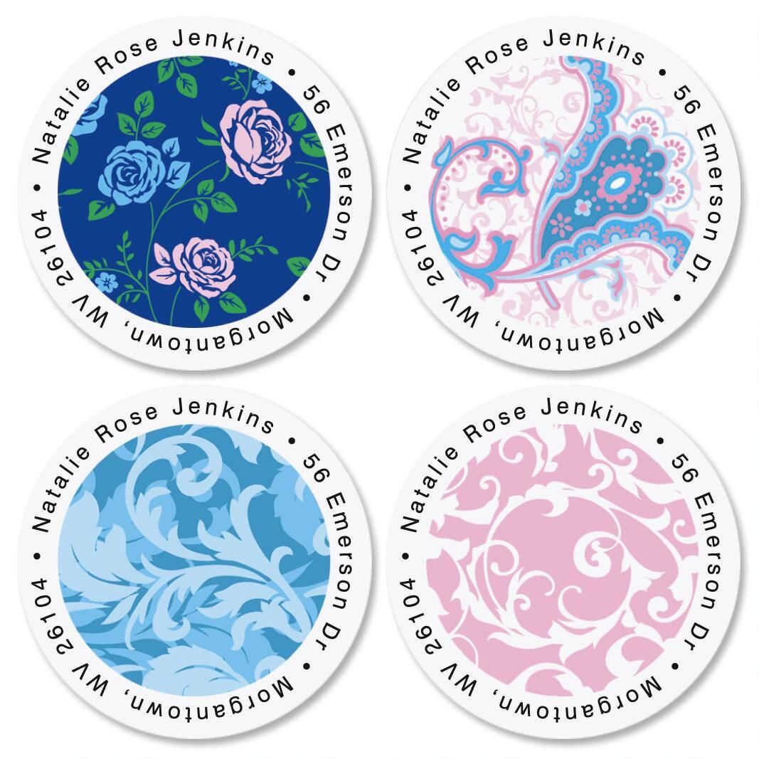 Tranquil Turquoise Round Address Labels  (4 Designs)