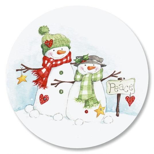 Peace Snowmen Envelope Sticker Seals