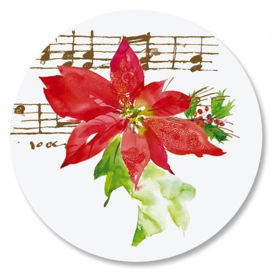 Poinsettia Melody Envelope Sticker Seals