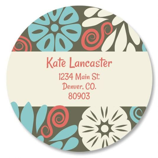 Vintage Bloom Round Address Labels