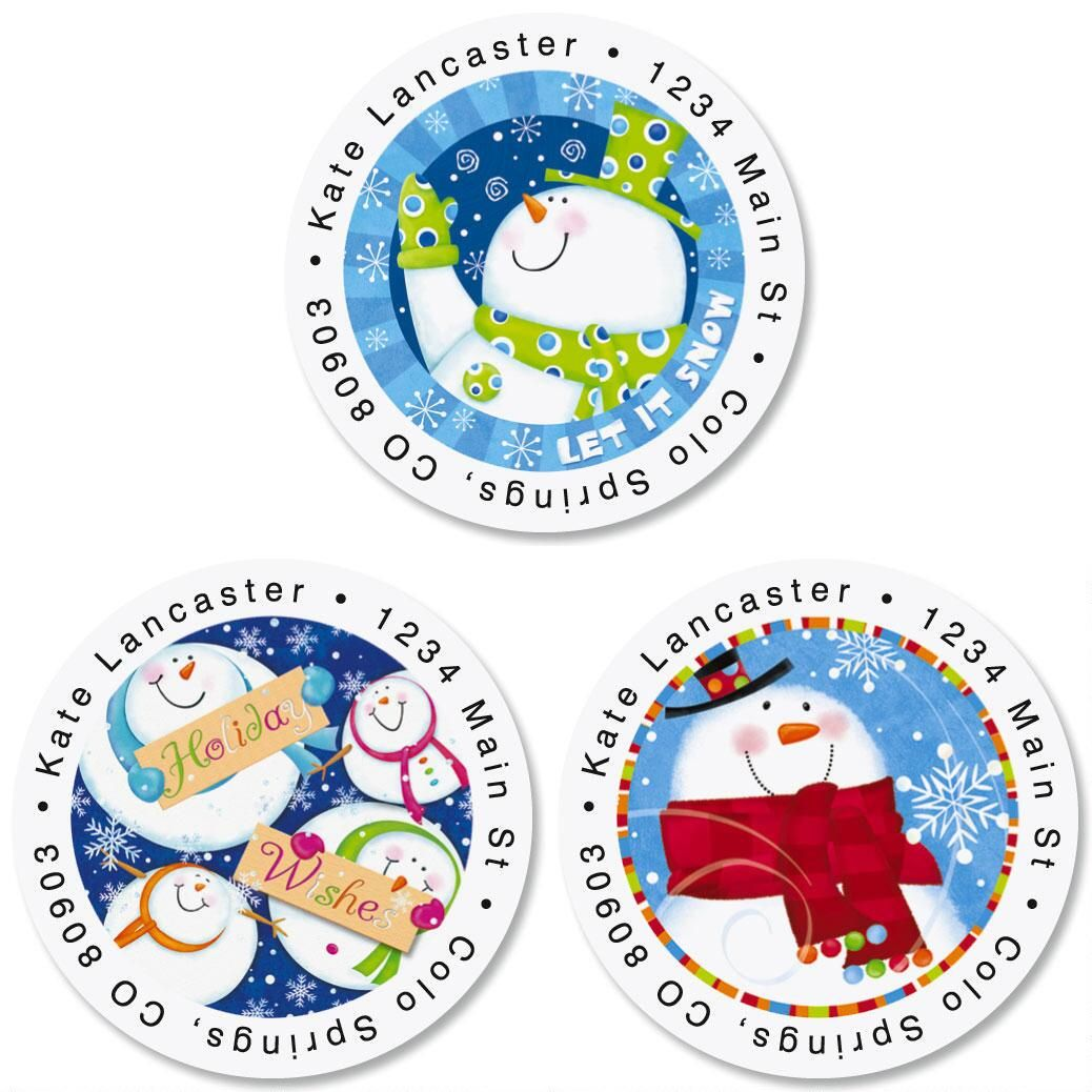 Snowman Wishes Round Address Labels  (3 Designs)