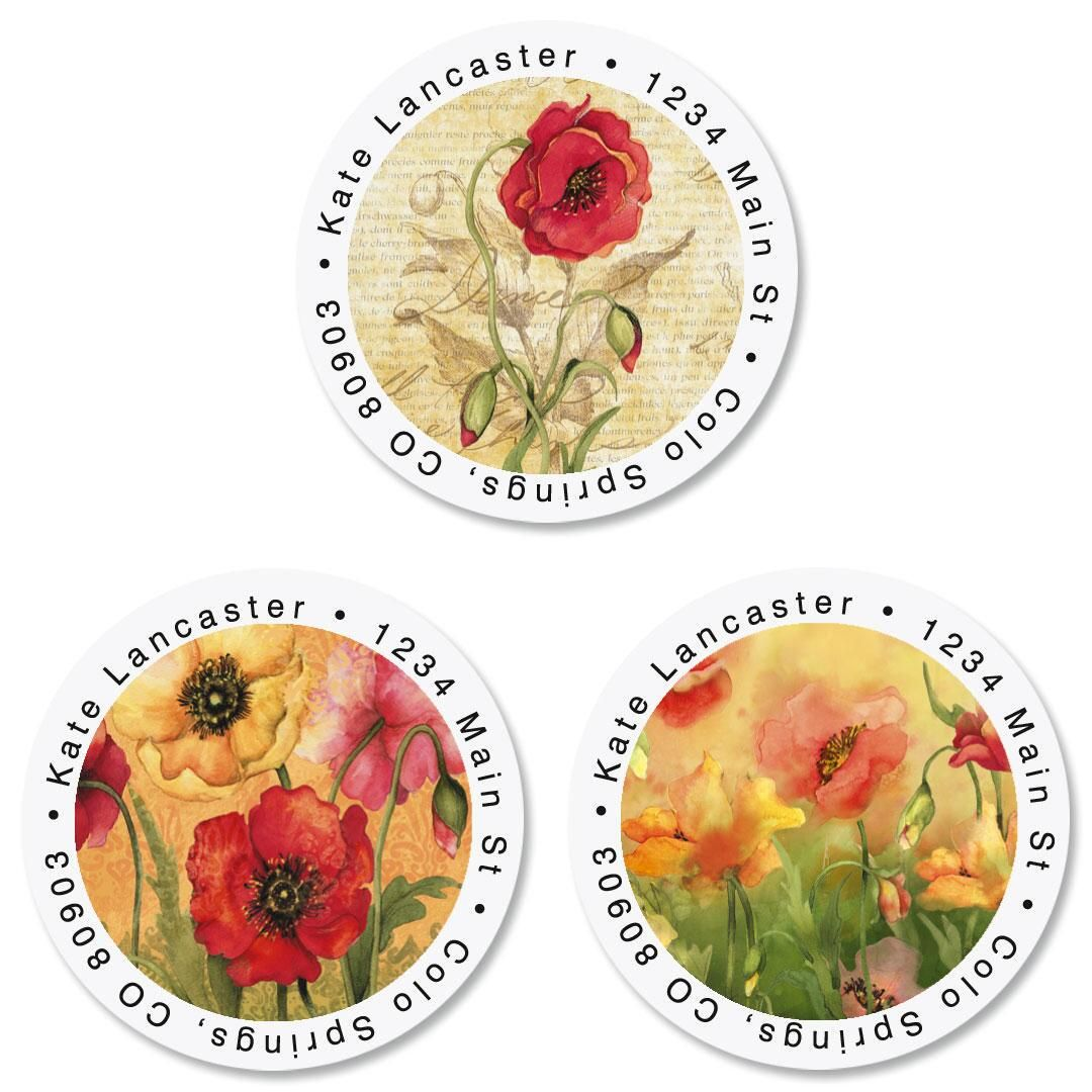 Poppies Round Address Labels