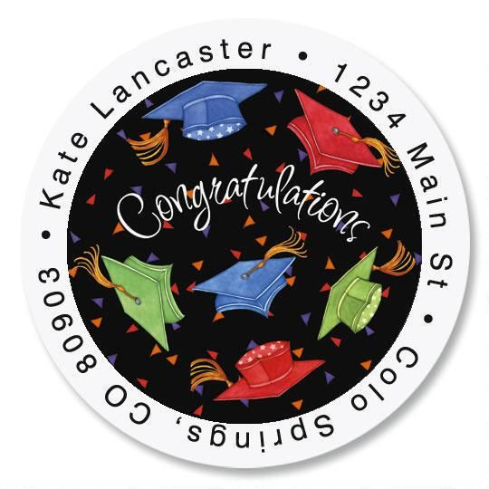 Cap Celebration Round Address Labels