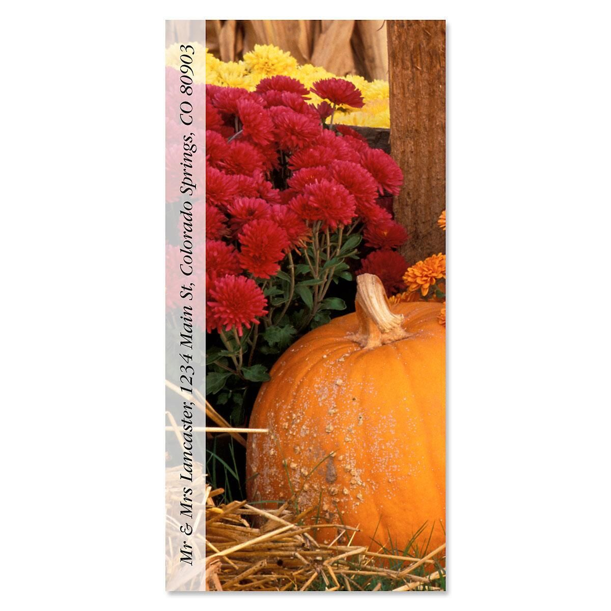 Pumpkins And Mums Oversized Address Label