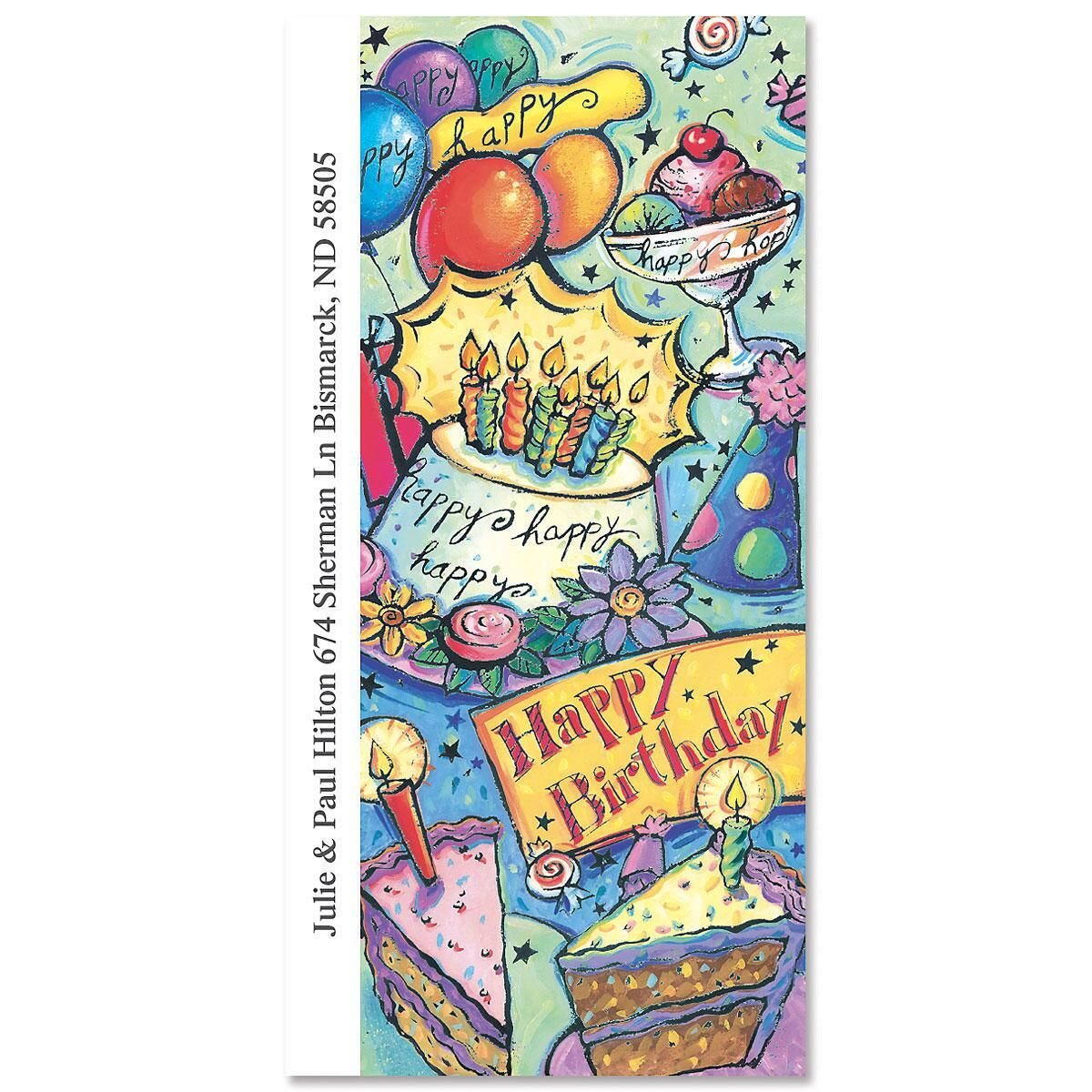 Happy Birthday Oversized Address Labels