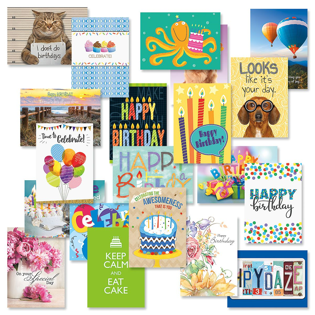 Mega Happy Birthday Cards Value Pack - Set Of 80