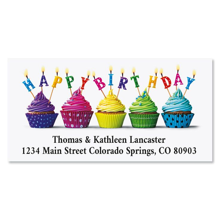 Cupcake Wishes Birthday Deluxe Address Labels
