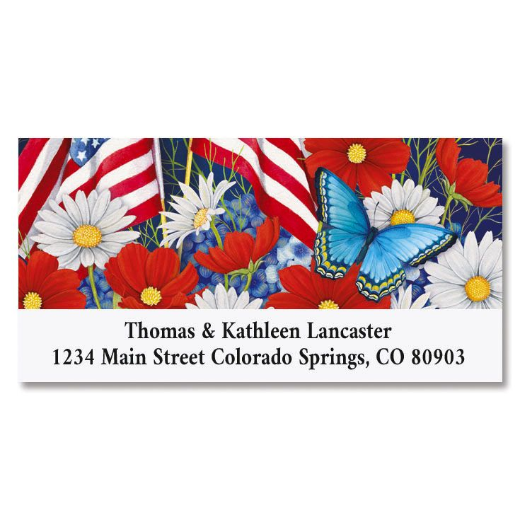 Red White and Bloom Deluxe Patriotic Address Labels
