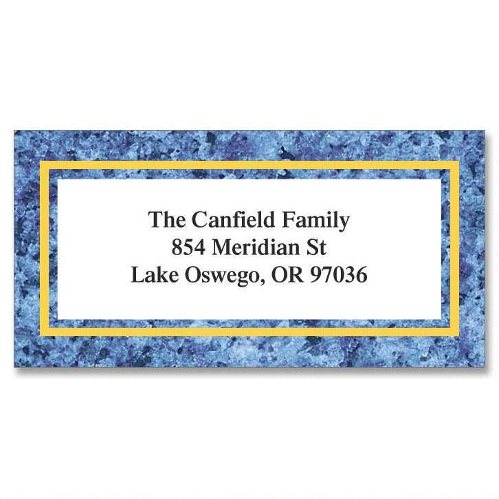 Blue Granite Border Address Labels