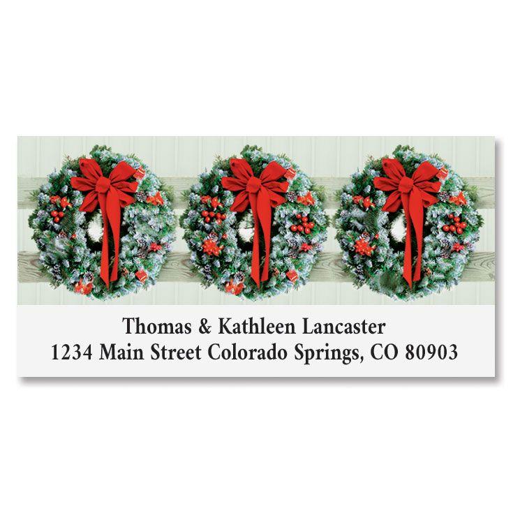 Wreaths In Snow Deluxe Address Label