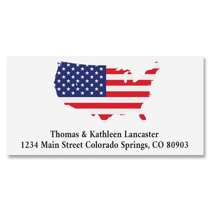Patriotic Map Deluxe Address Labels