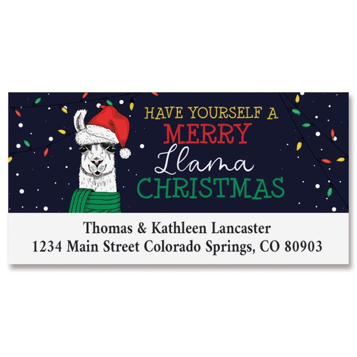 Christmas Llama Deluxe Address Labels