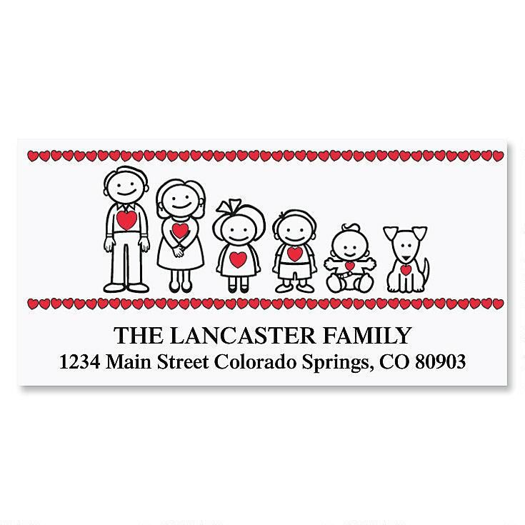Family With Hearts Deluxe Address Labels