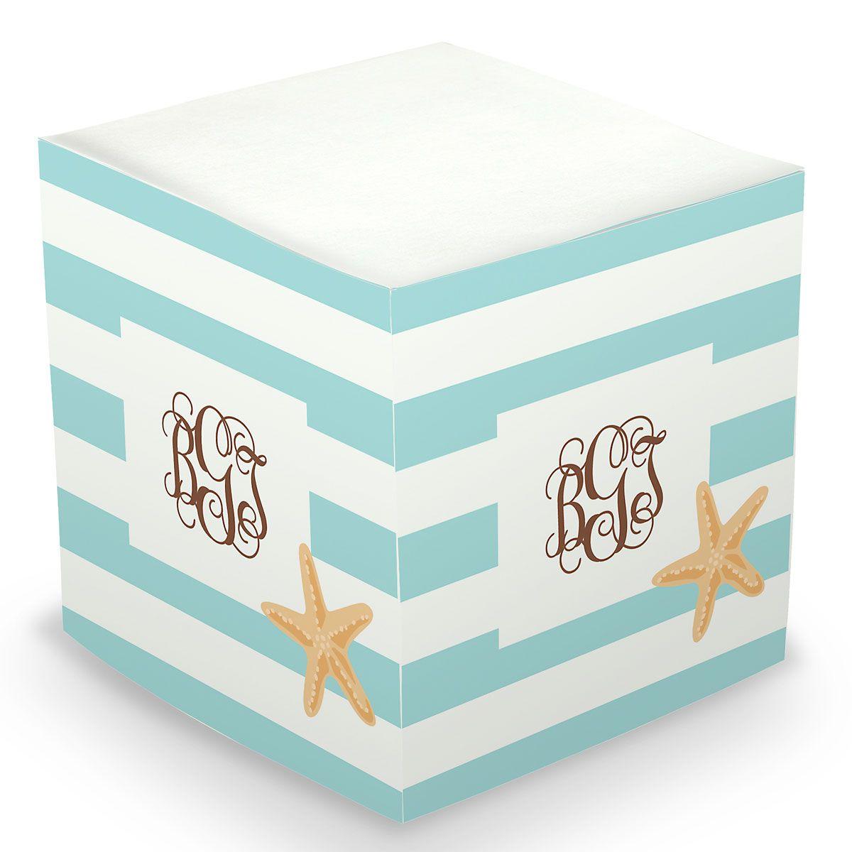 Personalized Starfish Sticky Memo Cube