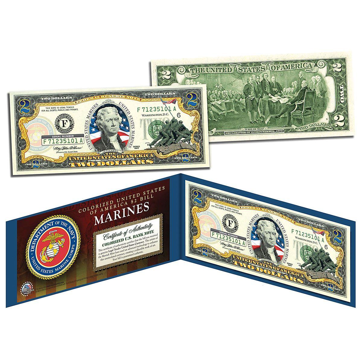 USA Marines WWII 2 Dollar Bill