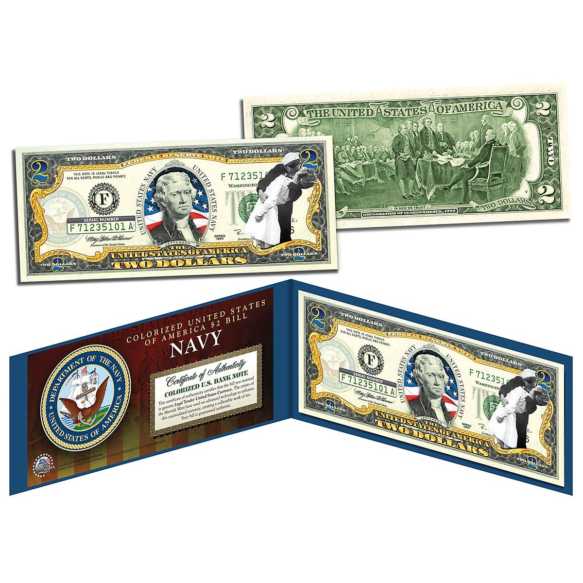 USA Navy WWII 2 Dollar Bill