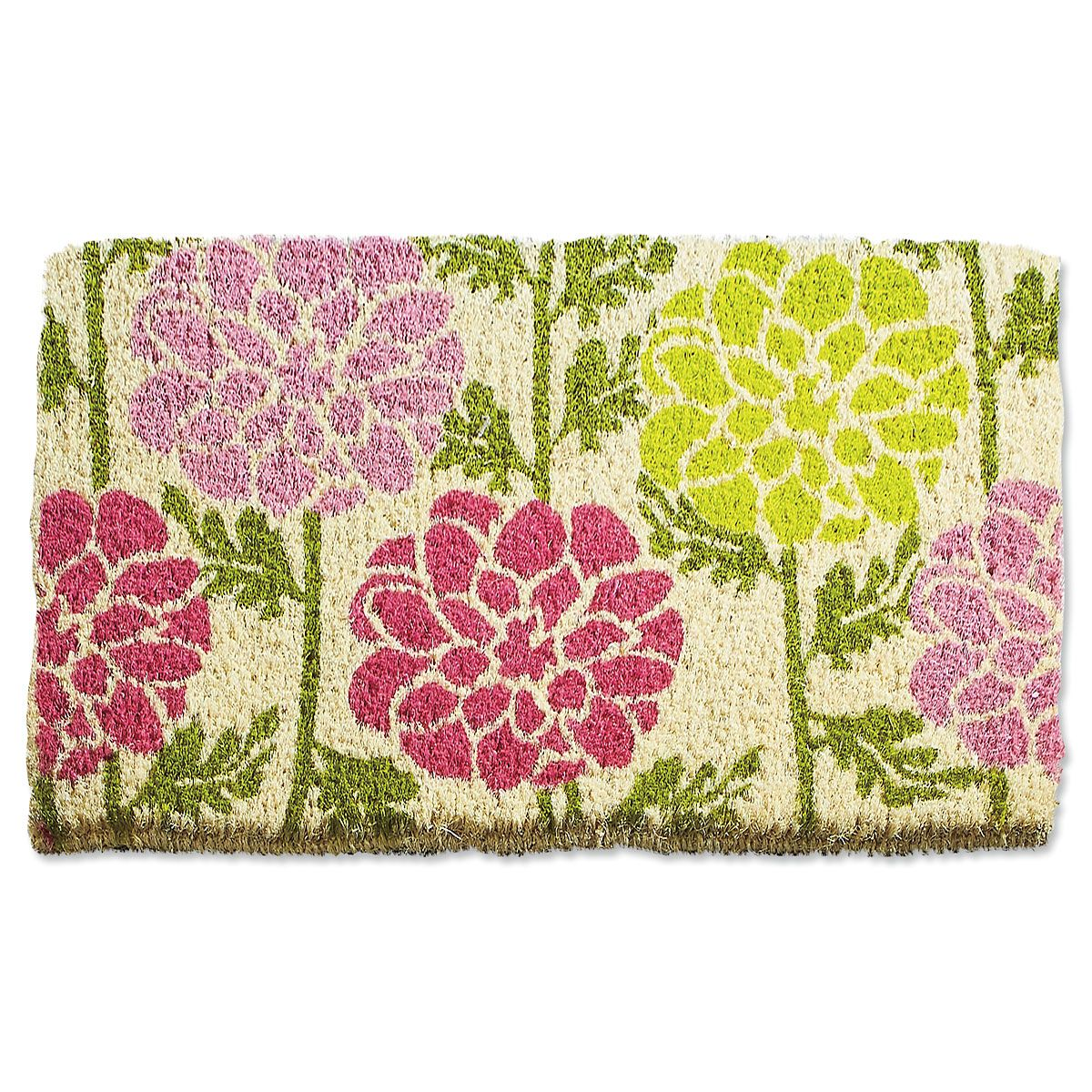 Dahlias Welcome Coir Doormat