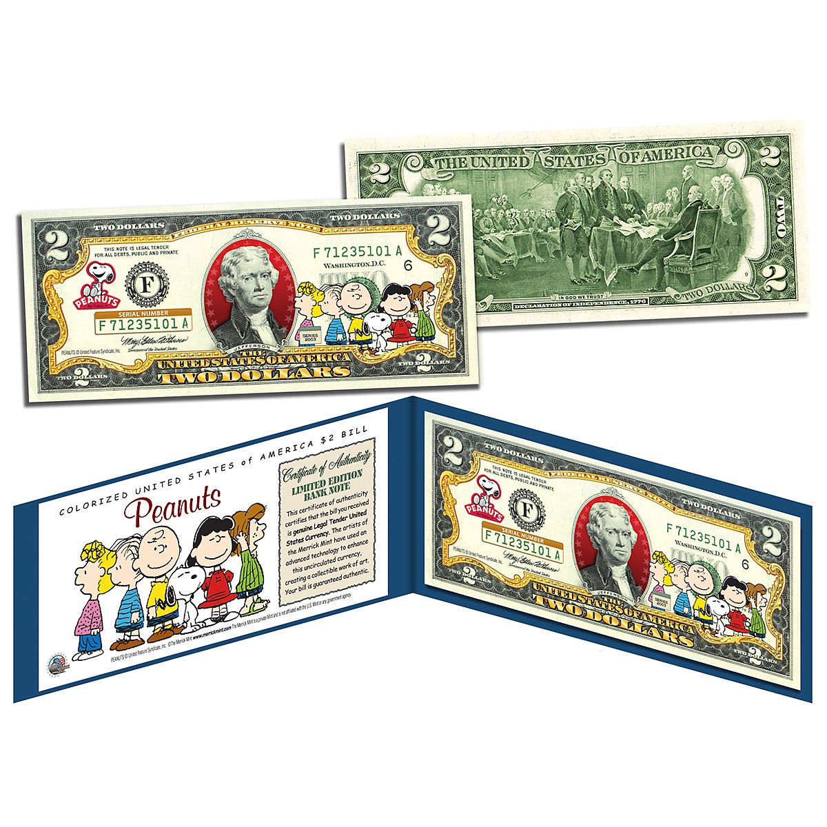 Peanuts 2 Dollar Bill