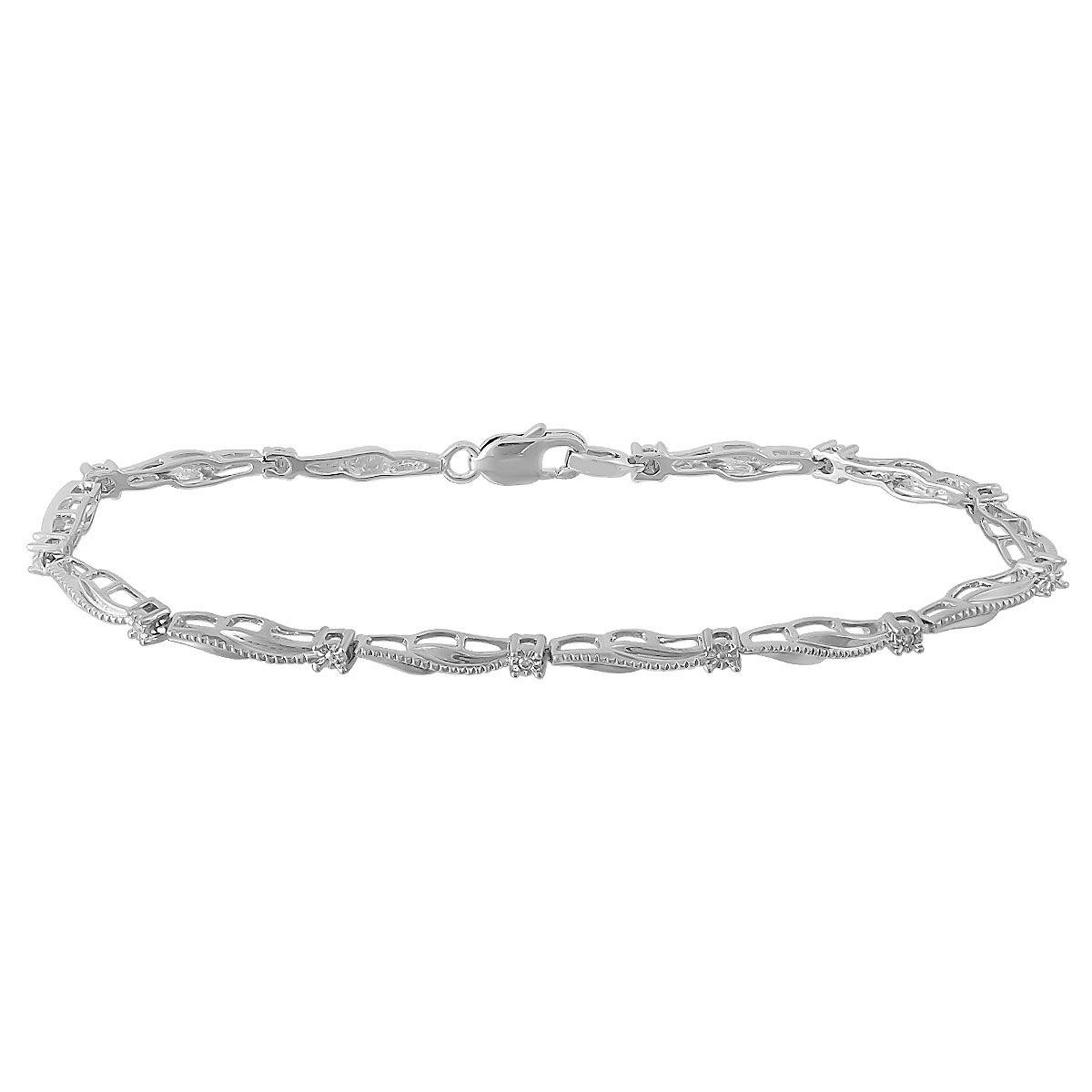 Diamond Accent Bypass Link Bracelet