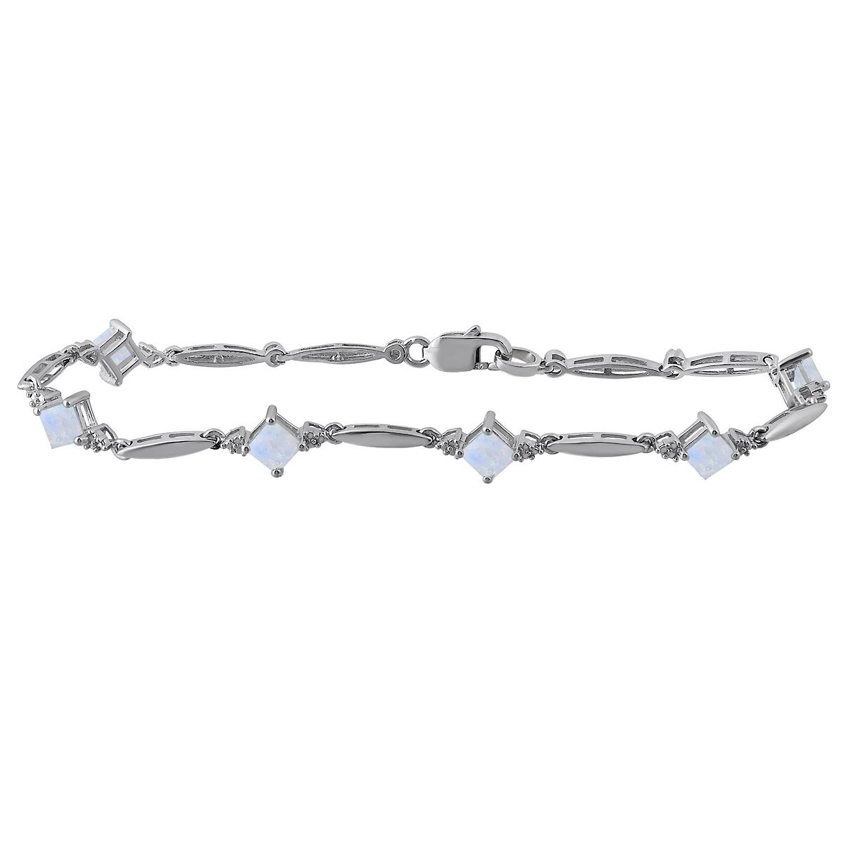 Diamond and Square Birthstone Bracelet