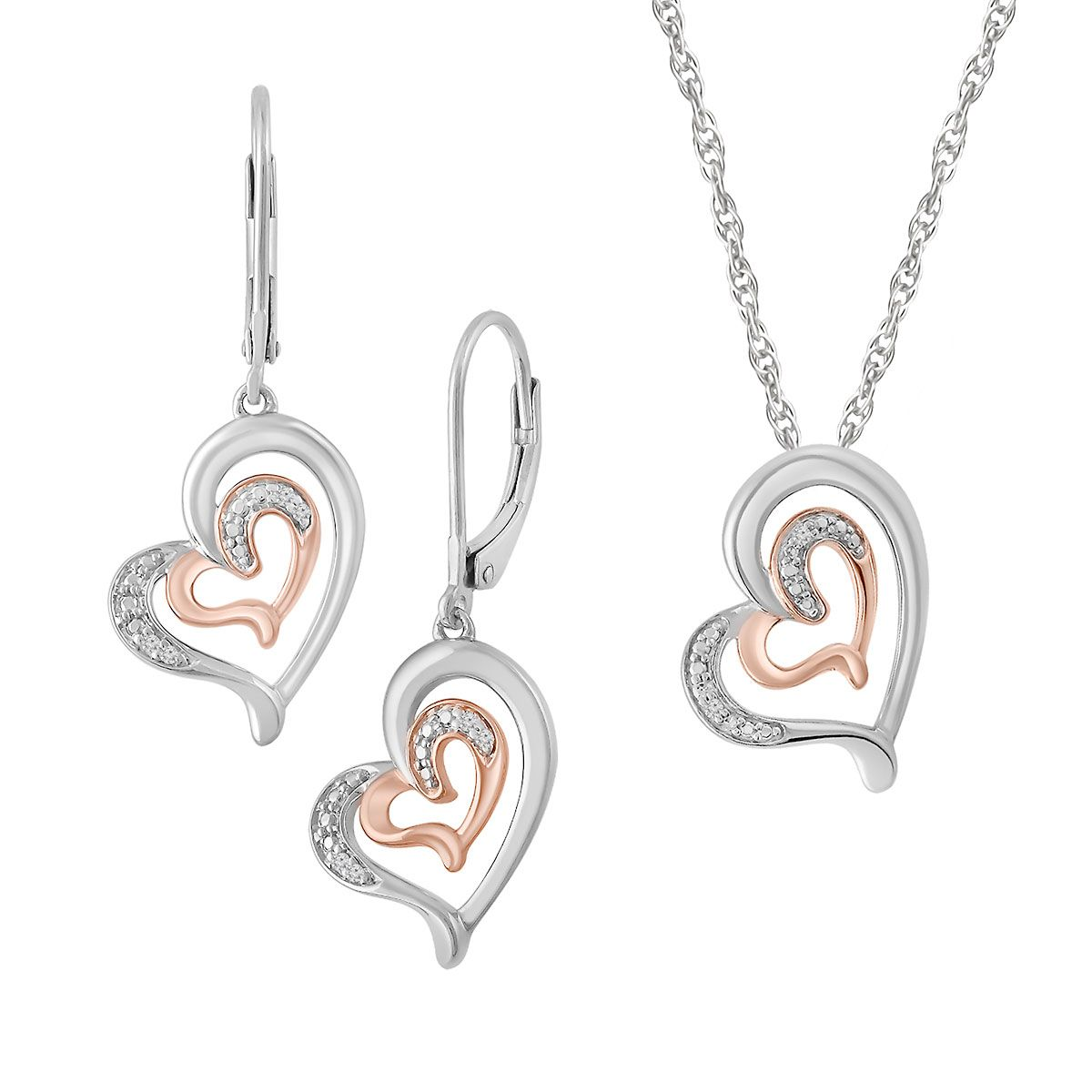 "Diamond Double Heart Pendant with 18"" Chain & Heart Earrings"