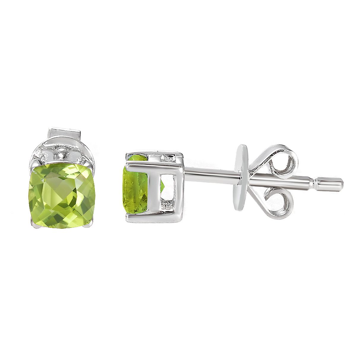 Sterling Silver Birthstone Cushion Stud Earrings - August