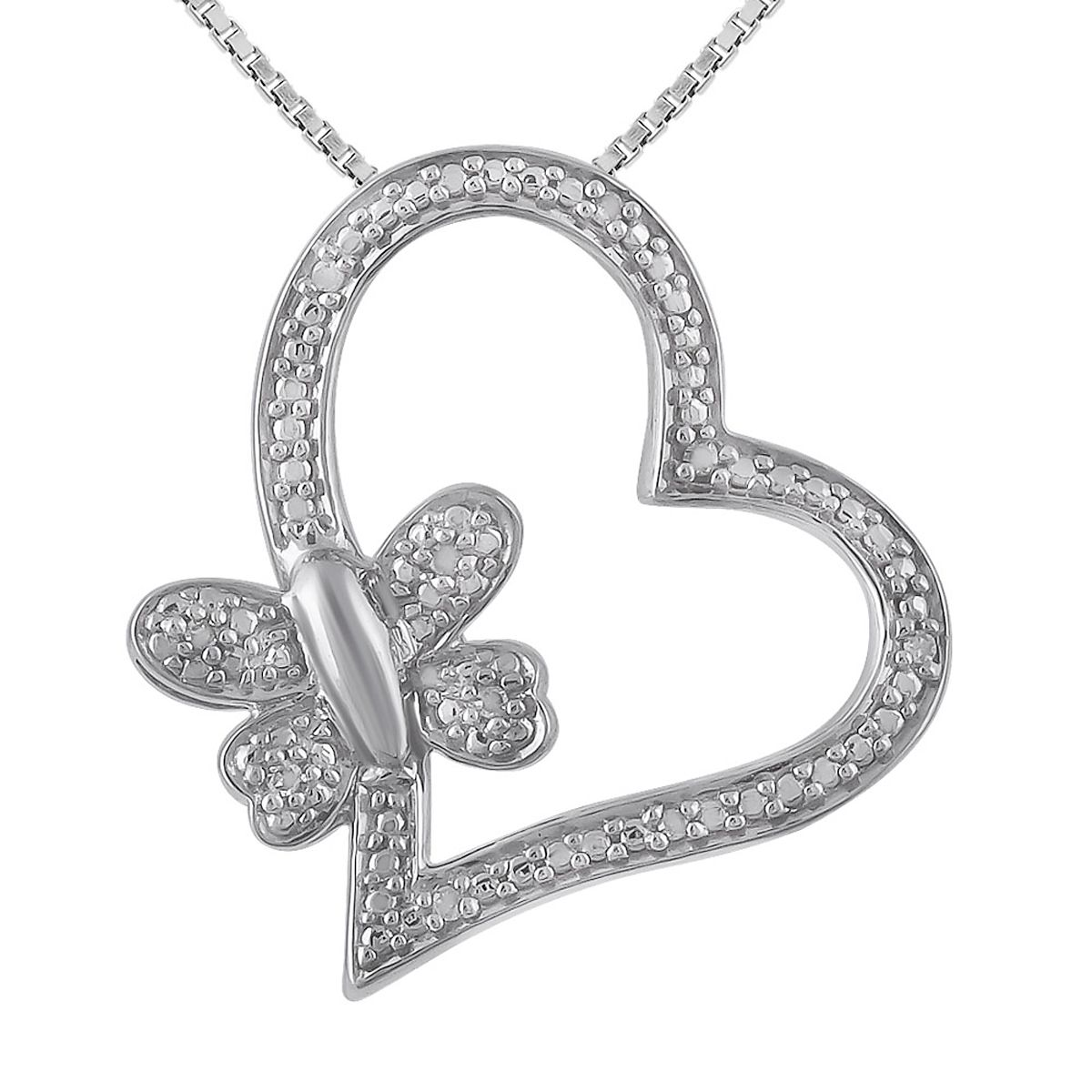 "Diamond Accent Heart & Butterfly Pendant with 18"" Chain"
