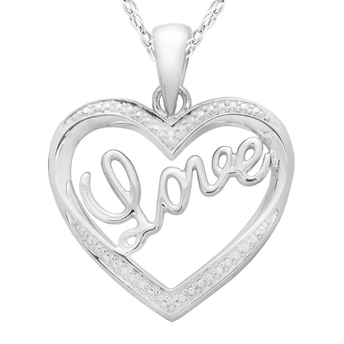 "Diamond Accent Heart/Love Pendant with 18"" Chain"
