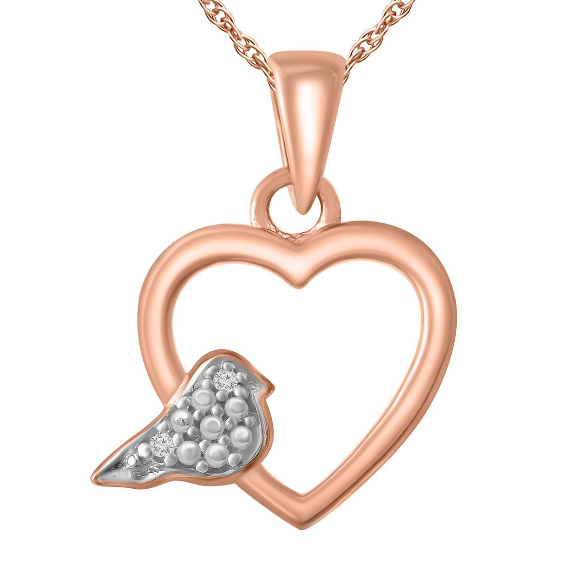 "Diamond Accent Heart/Dove Pendant with 18"" Chain"