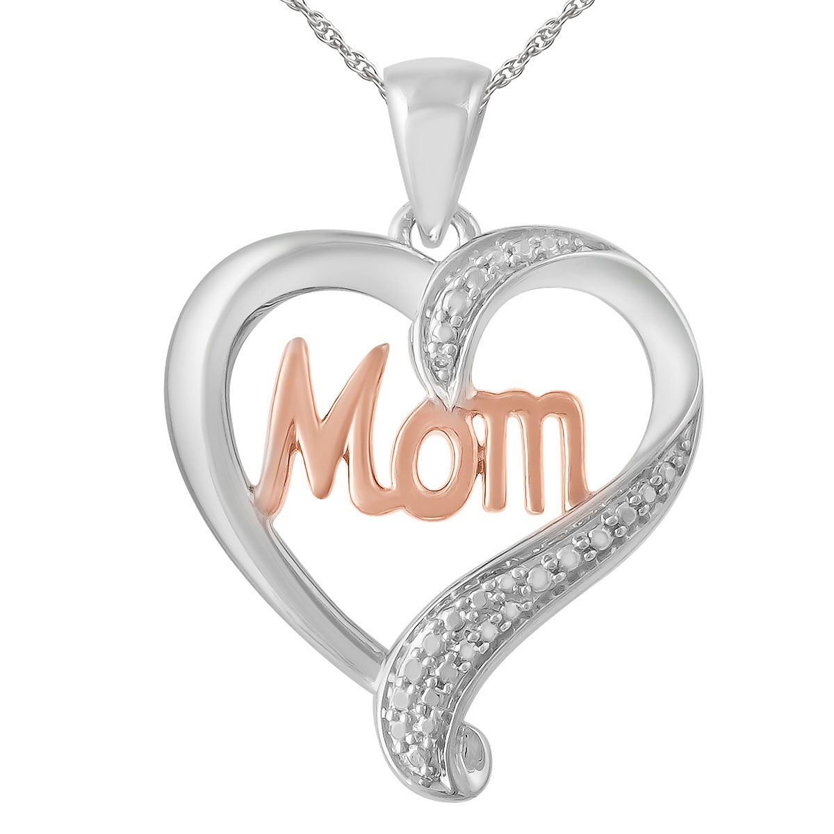 "Mom Diamond Accent Heart Pendant with 18"" Chain"