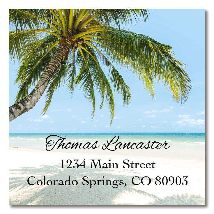 Tropical Large Square Address Labels